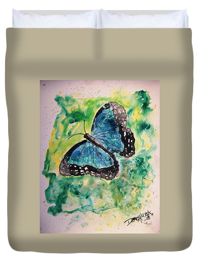 Wildlife Duvet Cover featuring the painting Blue Butterfly by Derek Mccrea