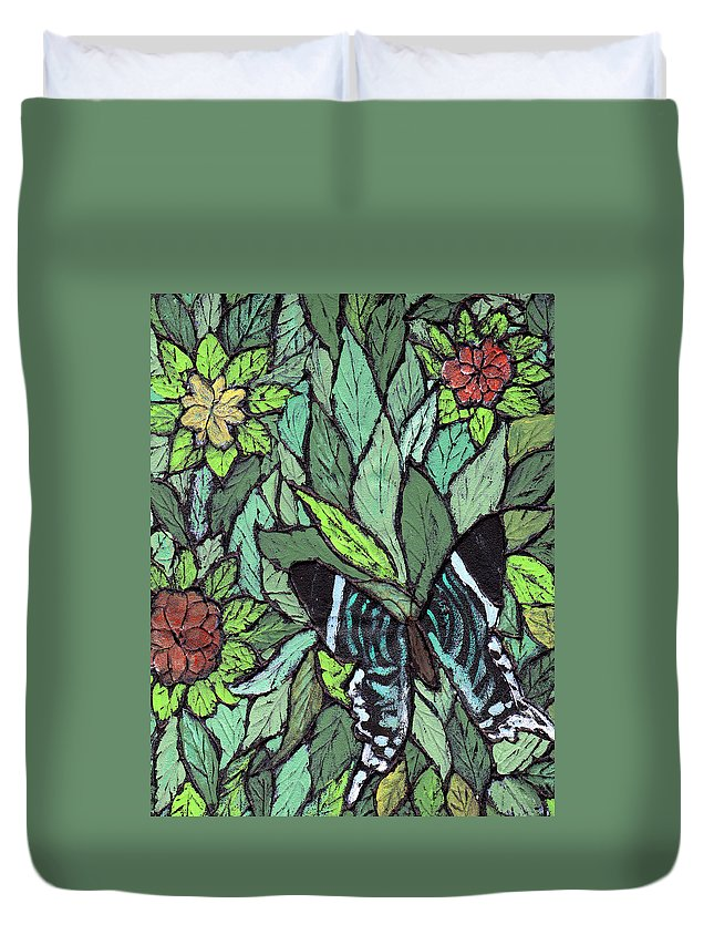 Butterfly Duvet Cover featuring the painting Blue Butterfly by Wayne Potrafka