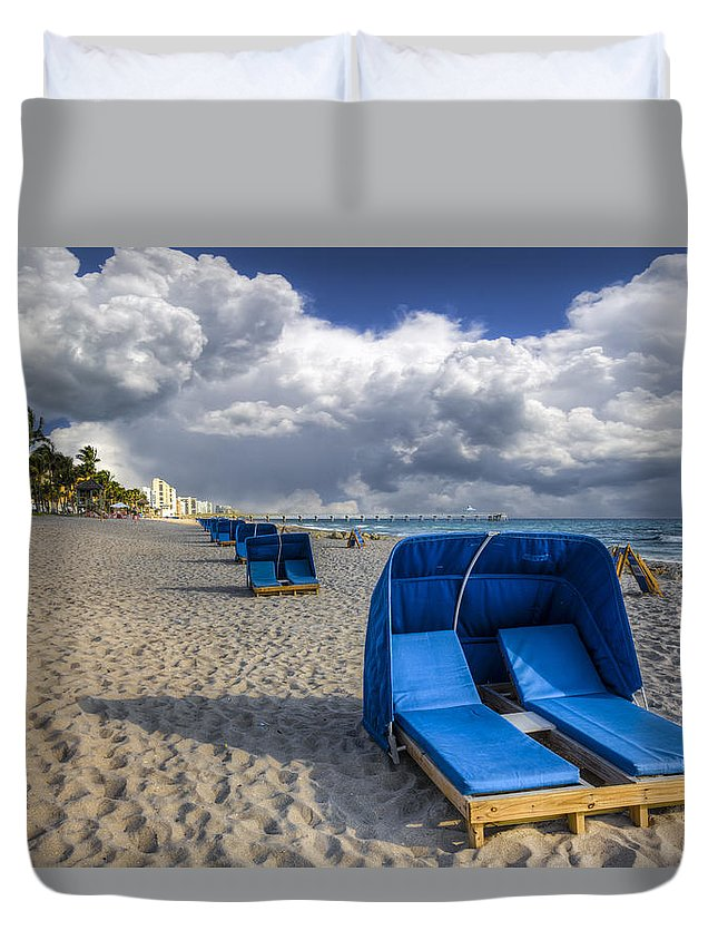 Clouds Duvet Cover featuring the photograph Blue Cabana by Debra and Dave Vanderlaan