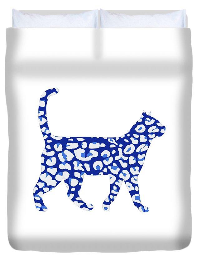 Cat Duvet Cover featuring the digital art Blue camo cat by Kaylin Watchorn