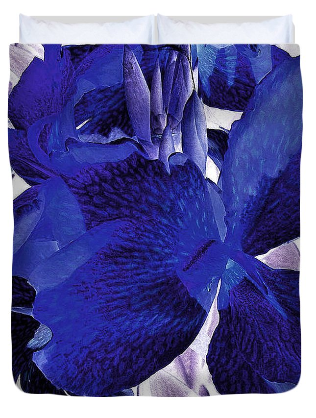 Blue Canna Lilyblue Lily Duvet Cover featuring the photograph Blue Canna Lily by Shawna Rowe