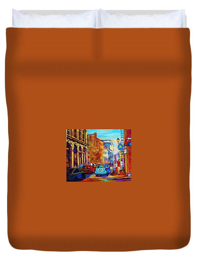 Montreal Duvet Cover featuring the painting Blue Cars At The Resto Bar by Carole Spandau