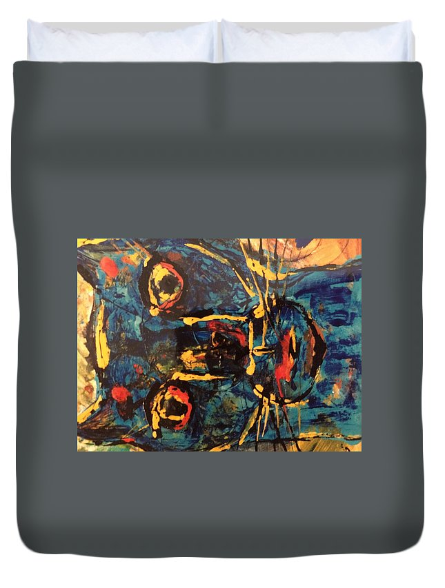 Cat Duvet Cover featuring the painting Blue Cat by Kyle Braund