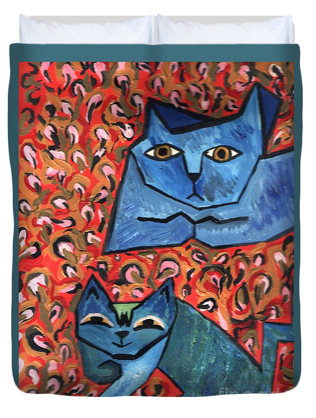 Cat Duvet Cover featuring the painting Blue Cats by Heather Lennox