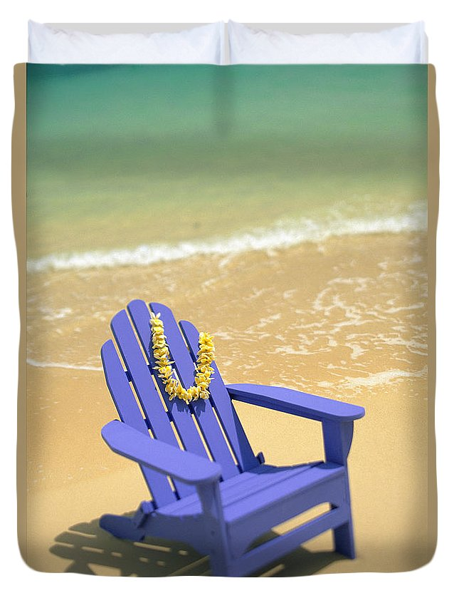 Afternoon Duvet Cover featuring the photograph Blue Chair by Dana Edmunds - Printscapes