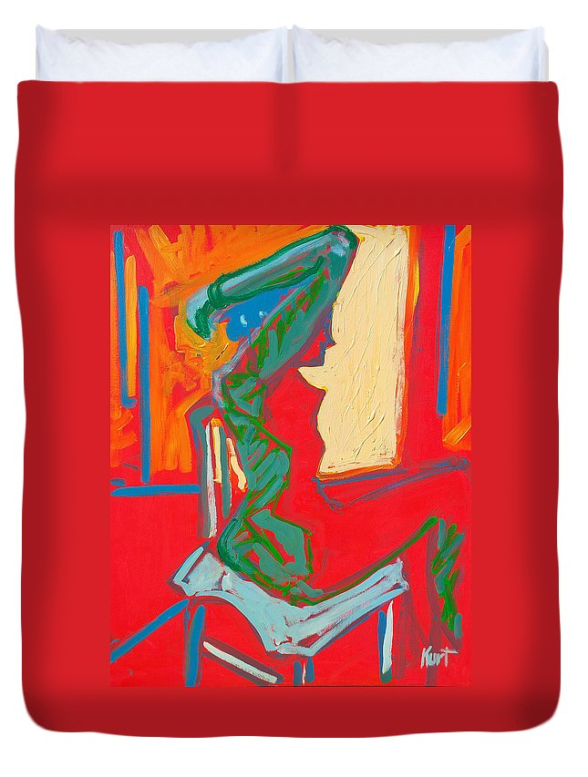 Woman Duvet Cover featuring the painting Blue Chair Study by Kurt Hausmann