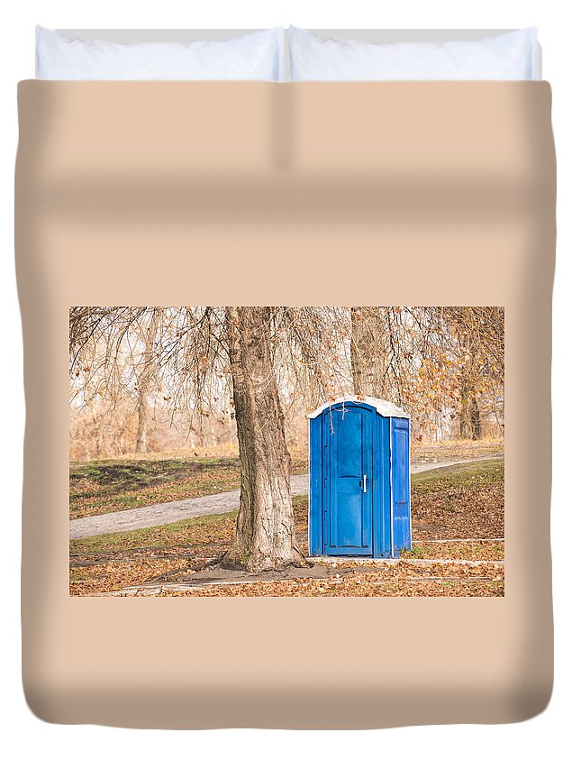 Autumn Duvet Cover featuring the photograph Blue Chemical Toilet In The Park by Alain De Maximy