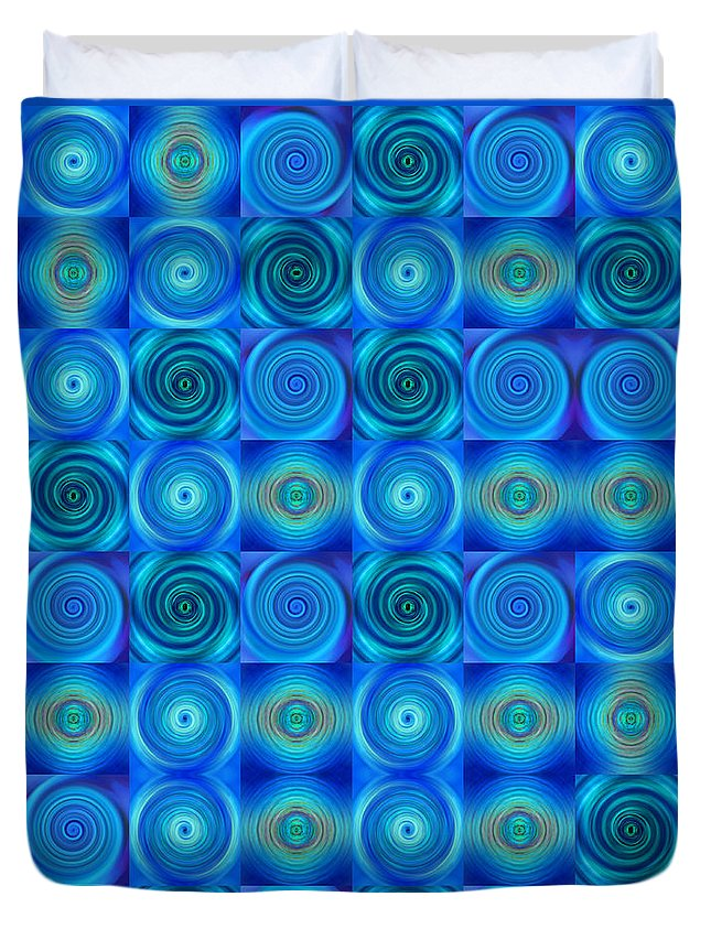 Blue Duvet Cover featuring the painting Blue Circles Abstract Art By Sharon Cummings by Sharon Cummings