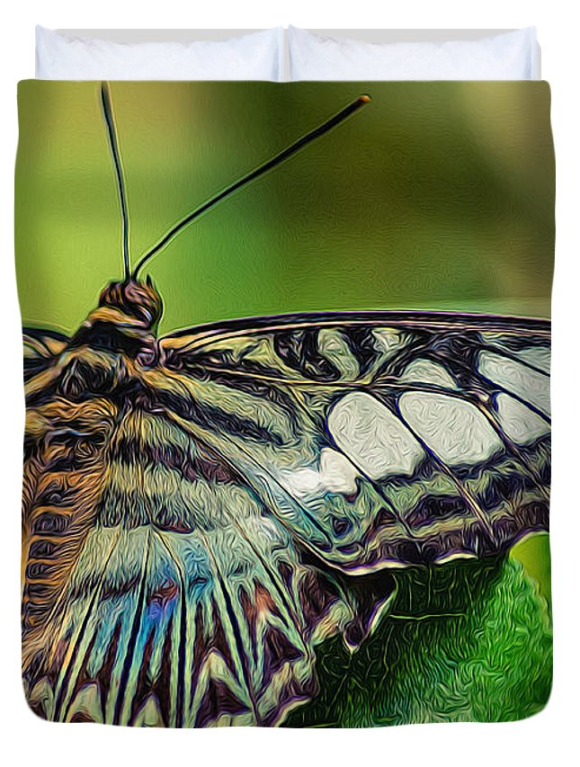 Black Brook Shop Duvet Cover featuring the photograph Blue Clipper - Looking Up by Black Brook Photography