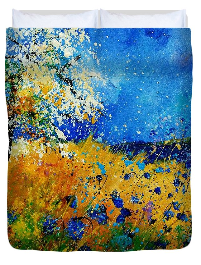 Poppies Duvet Cover featuring the painting Blue cornflowers 450108 by Pol Ledent