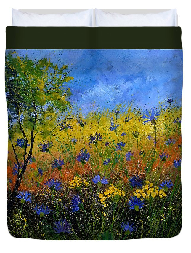 Flowers Duvet Cover featuring the painting Blue cornflowers 7761 by Pol Ledent