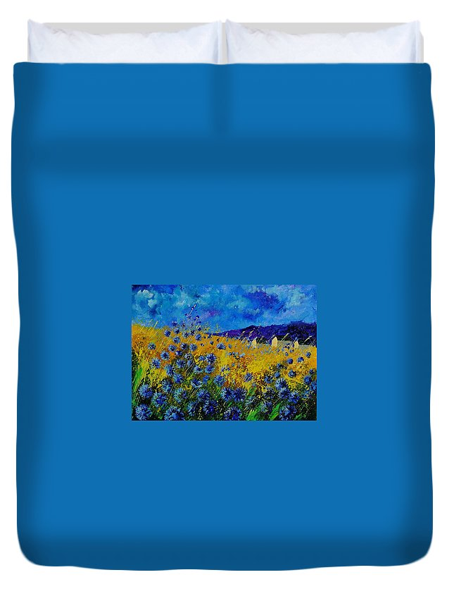 Poppies Duvet Cover featuring the painting Blue cornflowers by Pol Ledent