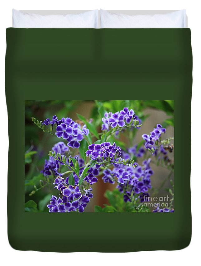 Blue Duvet Cover featuring the photograph Blue Cottage Flowers by Carol Groenen