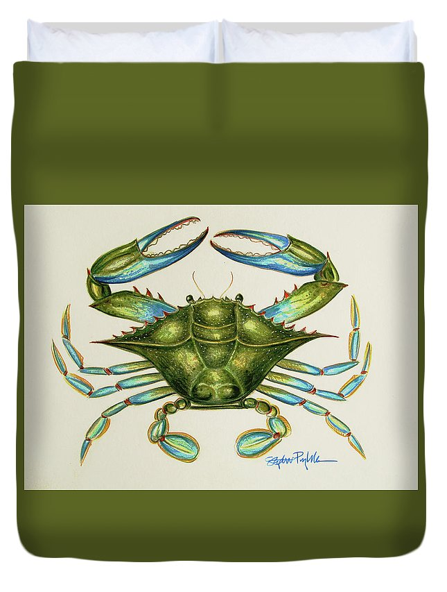 Crab Art Duvet Cover featuring the painting Blue Crab by Stephanie Przybylek