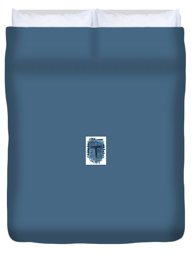 Cyanotype Duvet Cover featuring the photograph Blue Cross by Jane Linders