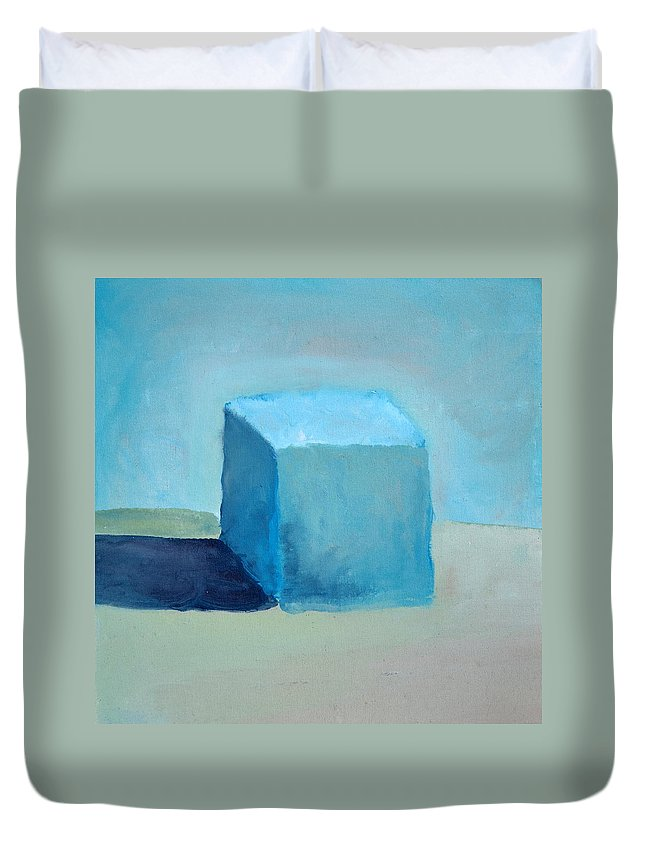Blue Duvet Cover featuring the painting Blue Cube Still Life by Michelle Calkins