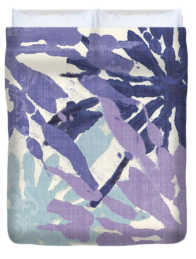 Ikat Duvet Cover featuring the painting Blue Curry II by Mindy Sommers
