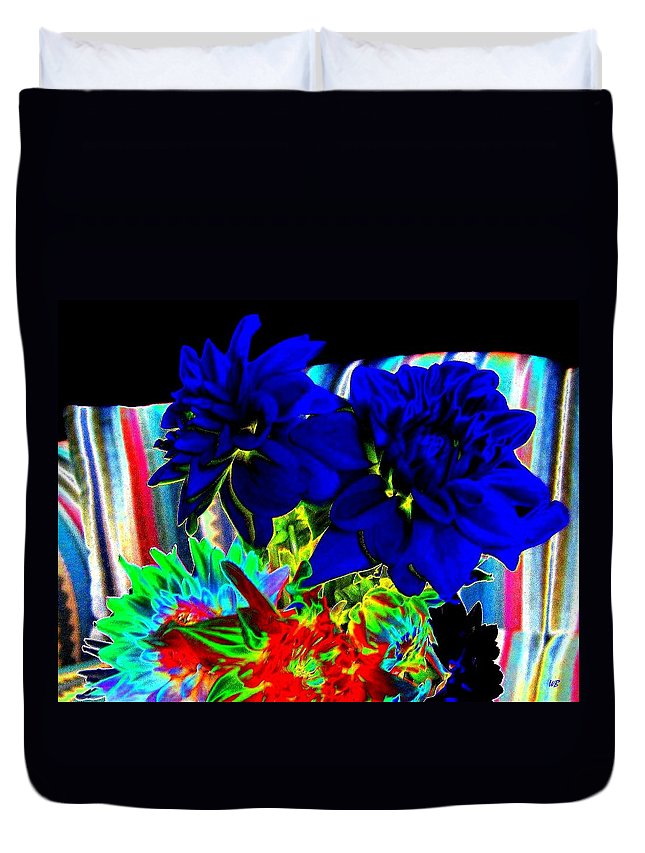 Abstract Duvet Cover featuring the digital art Blue Dahlias by Will Borden