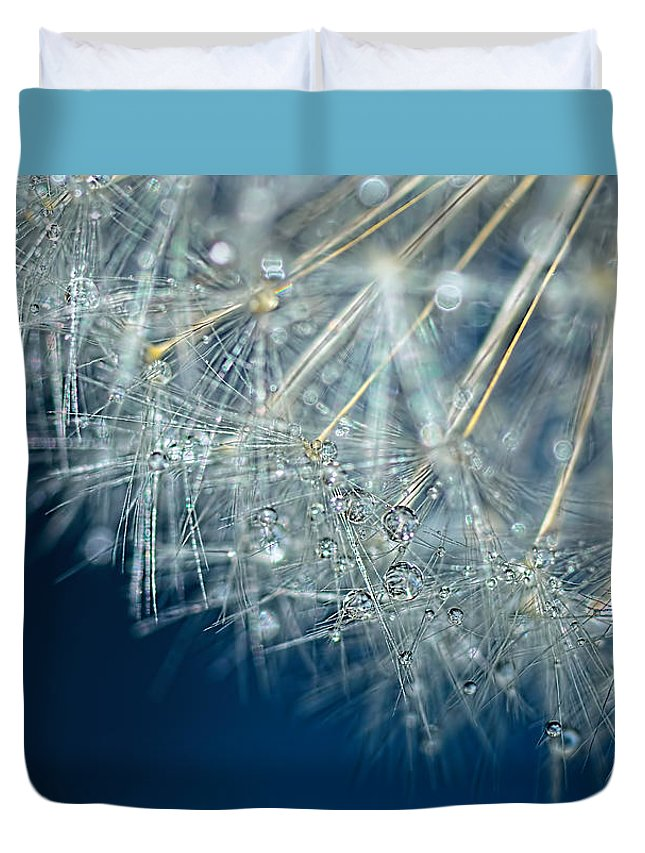 Blue Dandelion Dew Duvet Cover featuring the photograph Blue Dandelion Dew By Kaye Menner by Kaye Menner