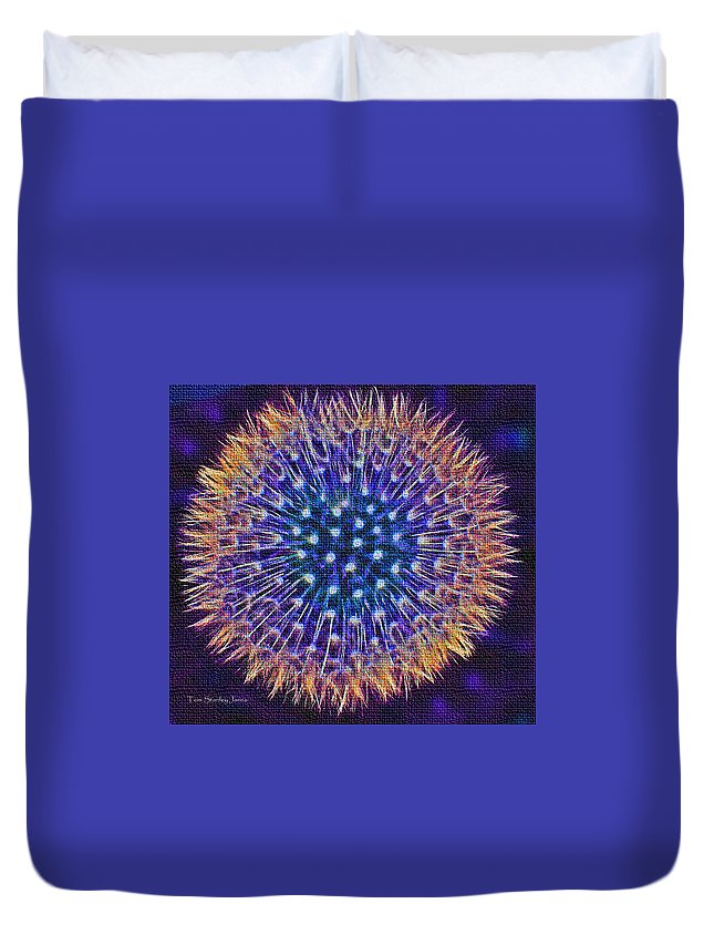 Blue Dandelion Duvet Cover featuring the photograph Blue Dandelion by Tom Janca