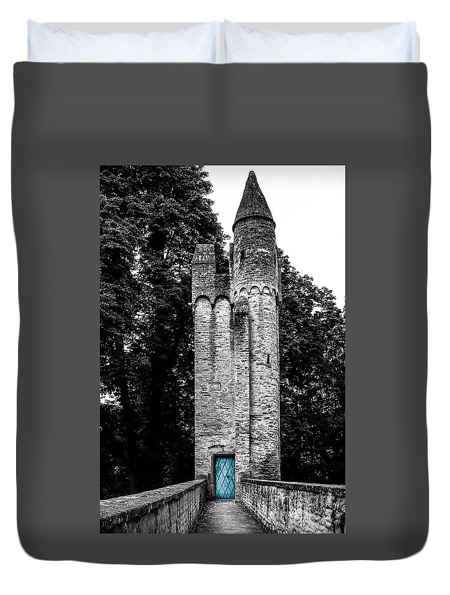 Tower Duvet Cover featuring the photograph Blue Door Tower by Amy Sorvillo