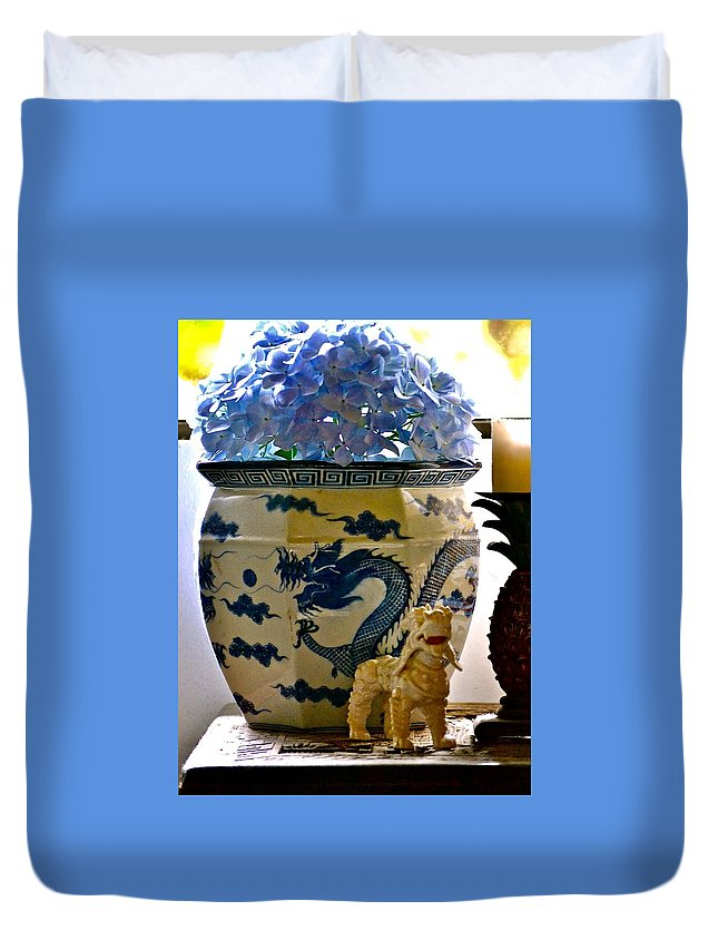 Hawaii Duvet Cover featuring the photograph Blue Dragon And Hydrangeas by Lehua Pekelo-Stearns