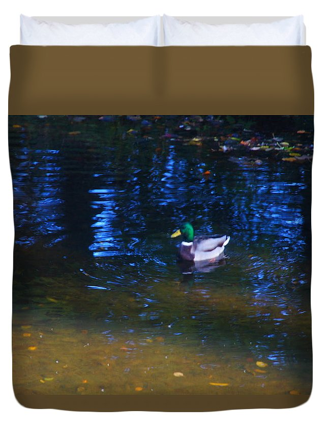 Nik Watt Duvet Cover featuring the photograph Blue Duck by Nik Watt