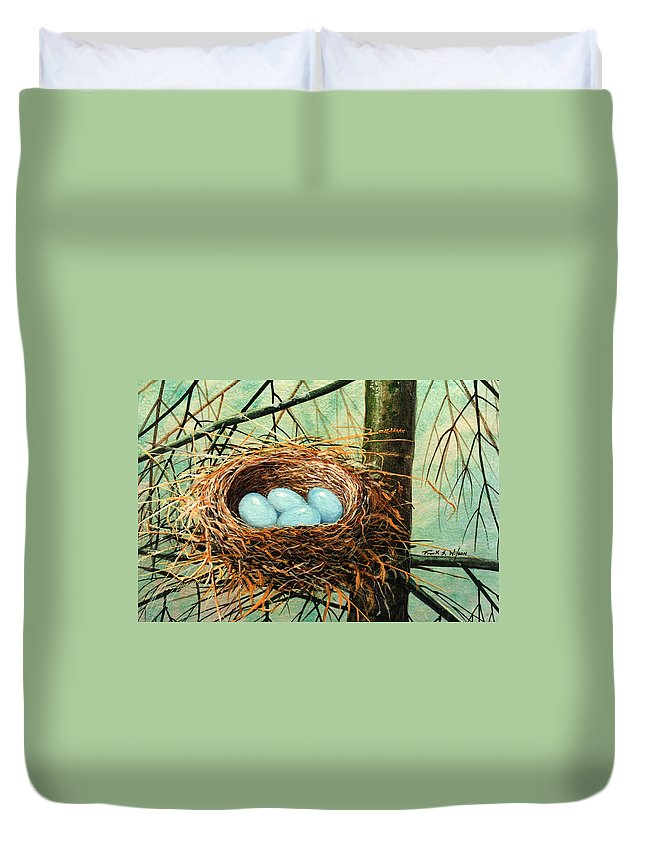 Wildlife Duvet Cover featuring the painting Blue Eggs In Nest by Frank Wilson