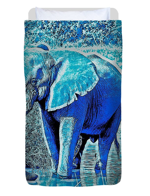 Africa Duvet Cover featuring the photograph Blue Elephant by Deb Z