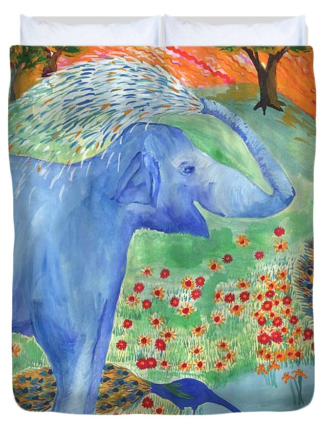 Elephant Duvet Cover featuring the painting Blue Elephant Squirting Water by Sushila Burgess