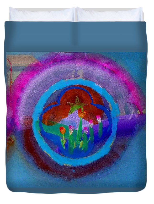 Love Duvet Cover featuring the painting Blue Embrace by Charles Stuart