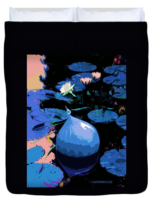 Garden Pond Duvet Cover featuring the photograph Blue Evening On The Pond by John Lautermilch