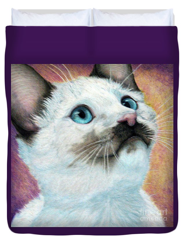 Cats Duvet Cover featuring the drawing Blue Eyed Prayer by Beverly Fuqua