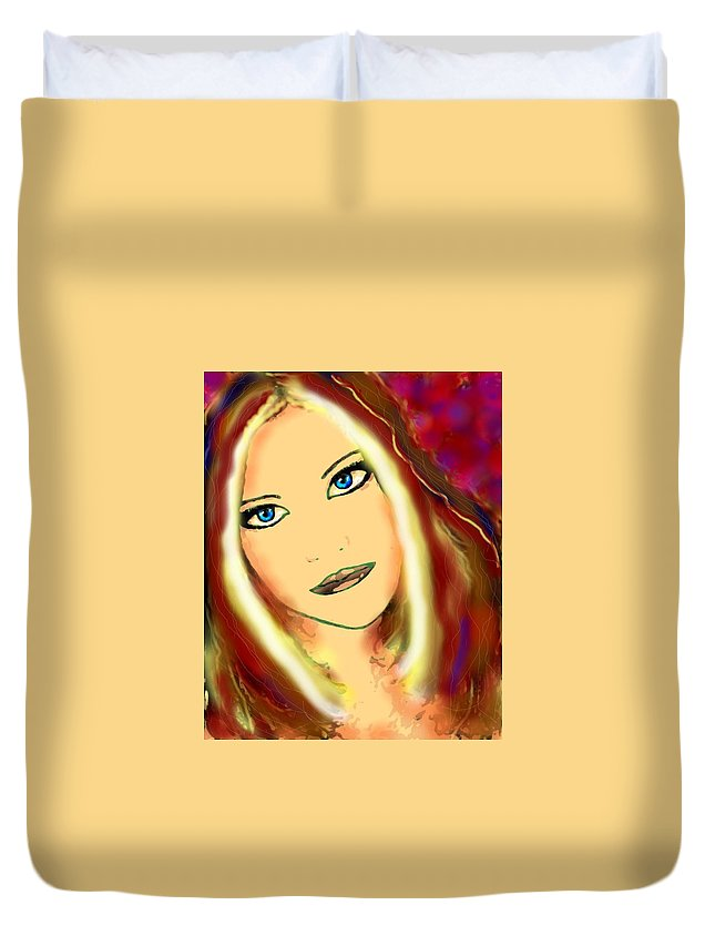 Woman Duvet Cover featuring the painting Blue Eyes by Natalie Holland