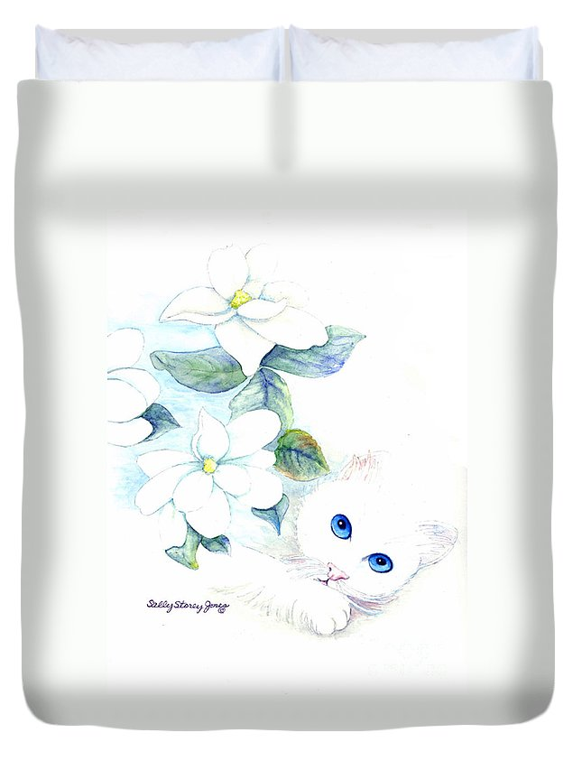 Kitten Duvet Cover featuring the painting Blue Eyes by Sally Storey Jones