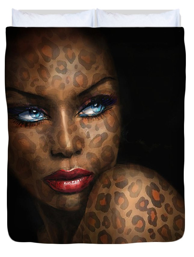 Portrait Duvet Cover featuring the painting Blue Eyes Wild 3 by Angie Braun