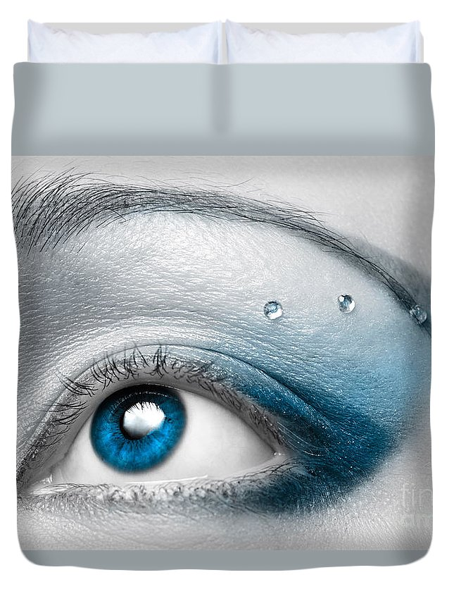 Eye Duvet Cover featuring the photograph Blue Female Eye Macro with Artistic Make-up by Maxim Images Prints