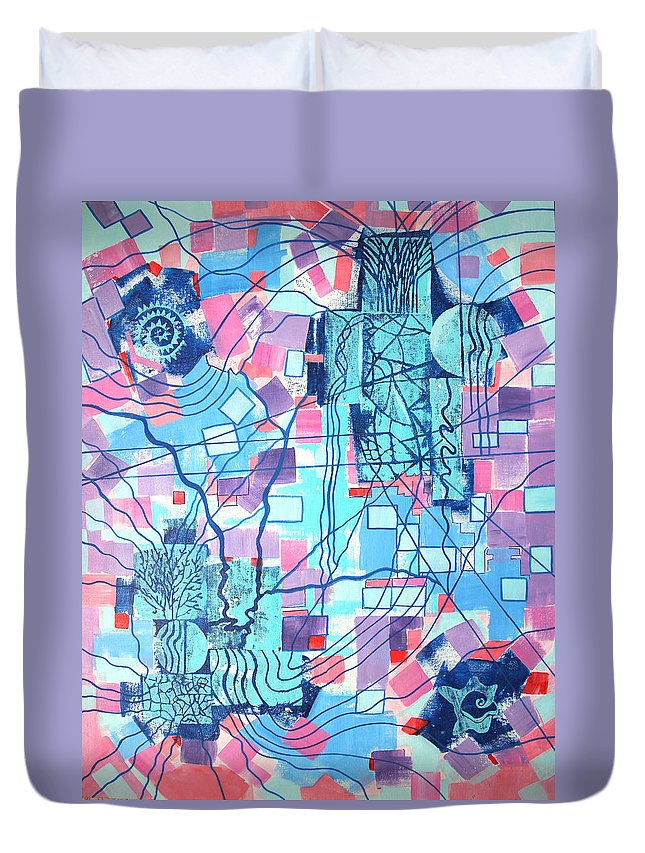 Grid Duvet Cover featuring the painting Blue Field Connections by Diana Perfect