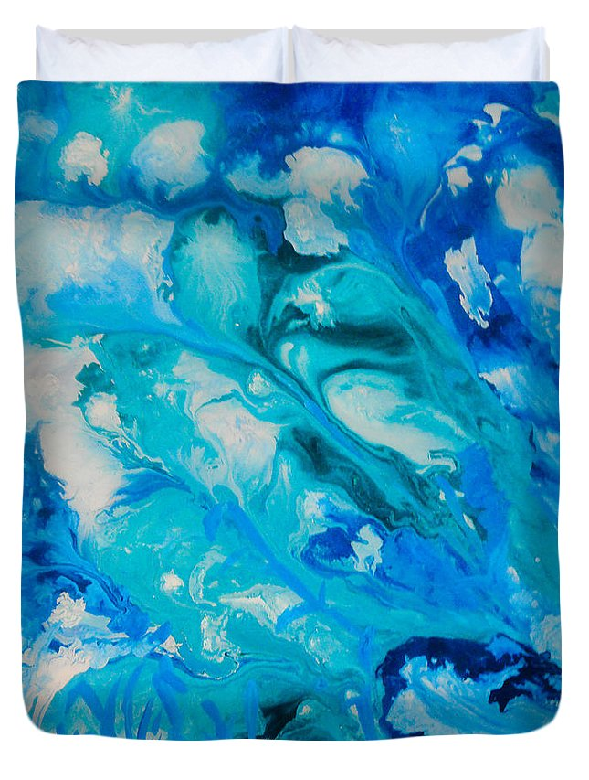 Abstract Duvet Cover featuring the painting Blue Flowers by Elle Justine