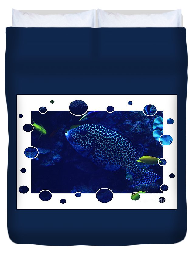 Blue Duvet Cover featuring the photograph Blue Fish by Carol Groenen
