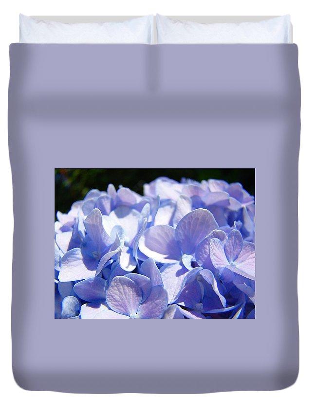 Hydrangea Duvet Cover featuring the photograph Blue Floral Art Prints Blue Hydrangea Flower Baslee Troutman by Baslee Troutman