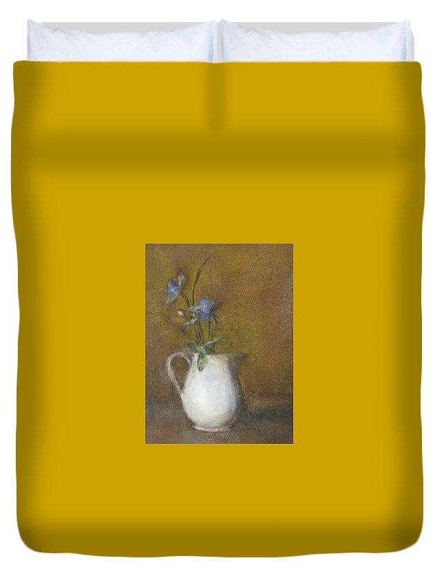 Floral Still Life Duvet Cover featuring the painting Blue Flower by Joan DaGradi