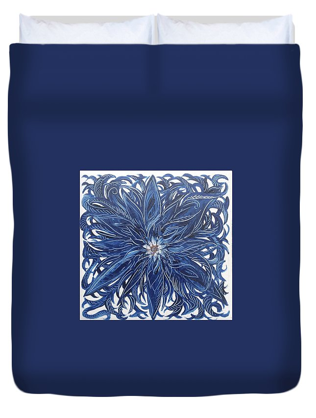 Blue Duvet Cover featuring the painting Blue Flower by Karen Doyle