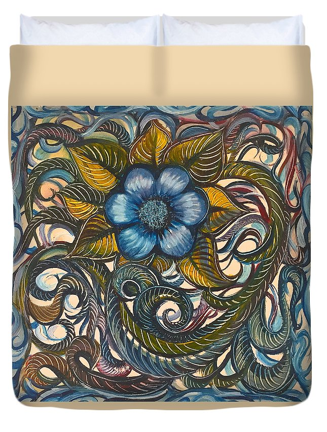 Blue Duvet Cover featuring the painting Blue Flower with Yellow Leaves by Karen Doyle