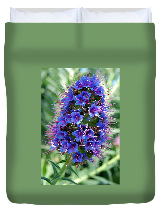 Flower Duvet Cover featuring the photograph Blue Flowers by Amy Fose