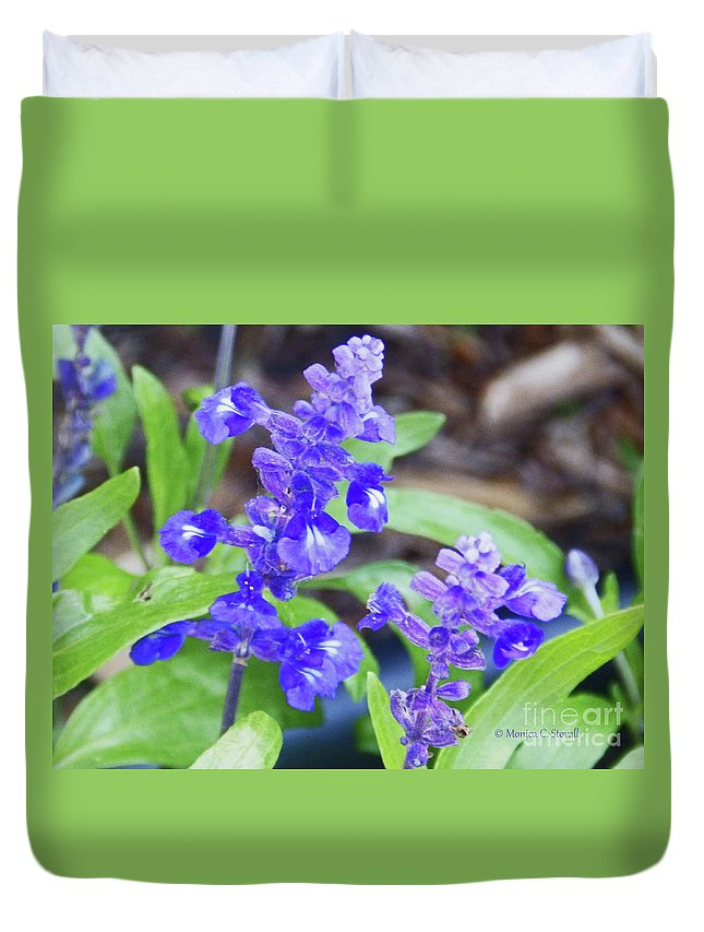 Blue Flowers Duvet Cover featuring the photograph Blue Flowers B4 by Monica C Stovall