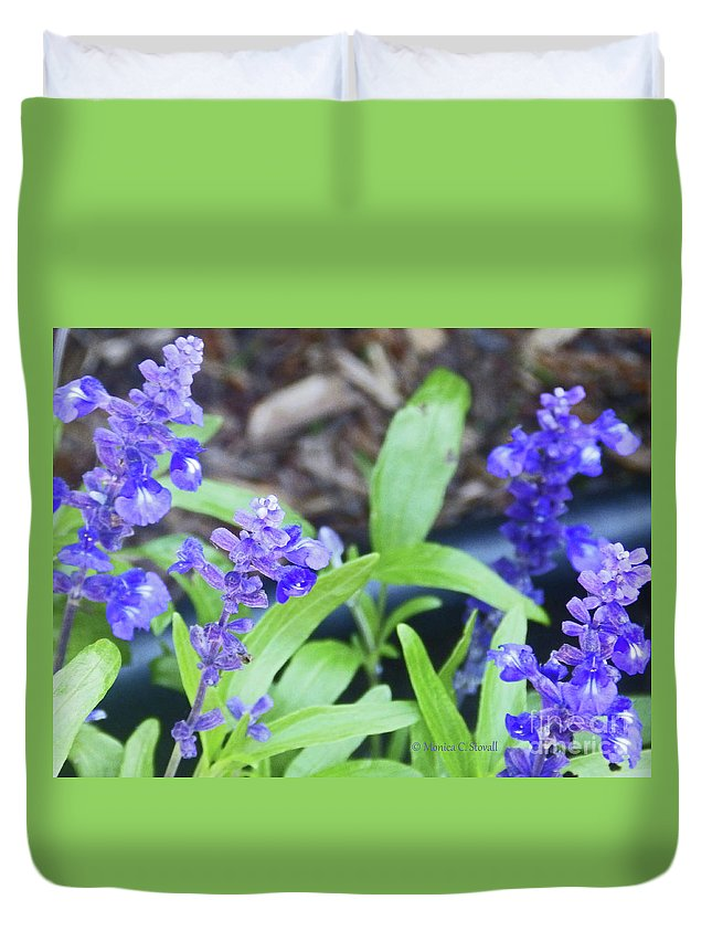 Blue Flowers Duvet Cover featuring the photograph Blue Flowers B5 by Monica C Stovall