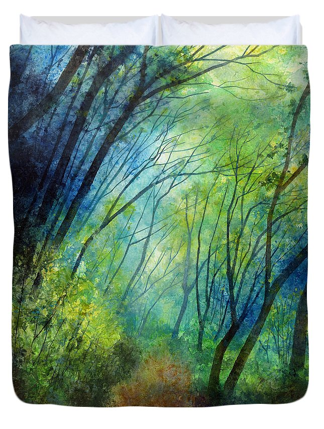 Blue Duvet Cover featuring the painting Blue Fog by Hailey E Herrera