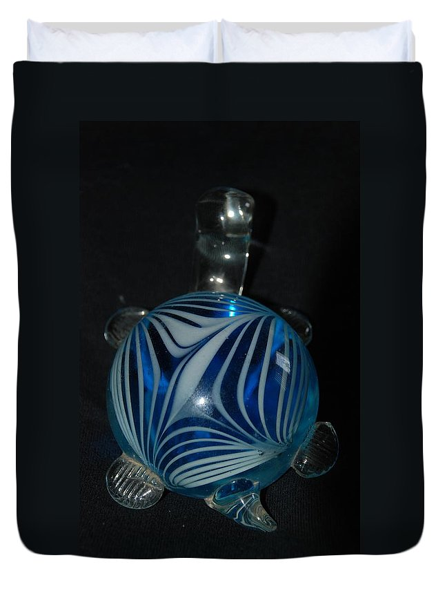 Glass Duvet Cover featuring the photograph Blue Glass Turtle by Rob Hans