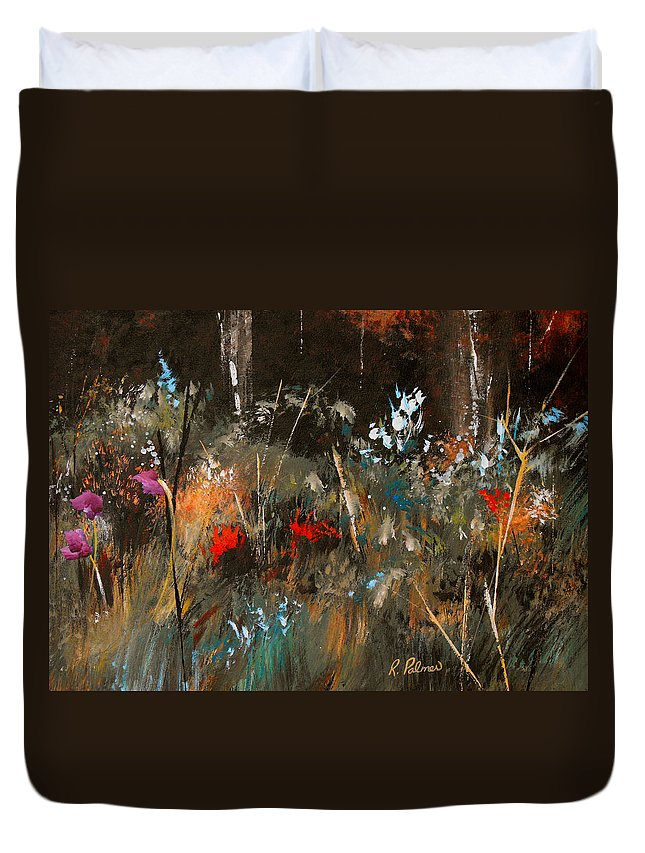 Abstract Duvet Cover featuring the painting Blue Grass And Wild Flowers by Ruth Palmer